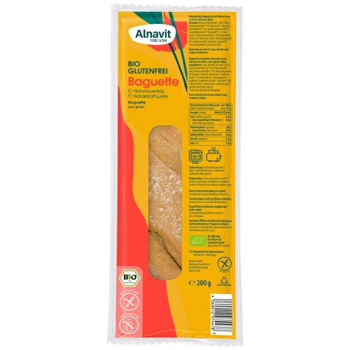 Alnavit Afbak Baguette Glutenvrij Bio 200 g