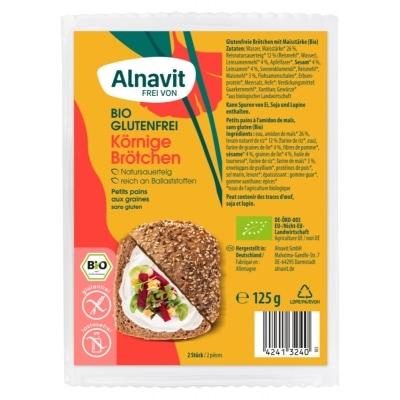 Alnavit Afbakbroodjes Zaden Glutenvrij Bio 2 x 62,5 g