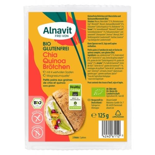Alnavit Chia-Quinoa Afbakbroodjes Bio 2 x 62,5 g