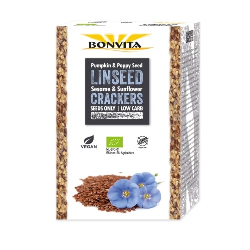 Bonvita Lijnzaadcrackers Glutenvrij Bio 100 g