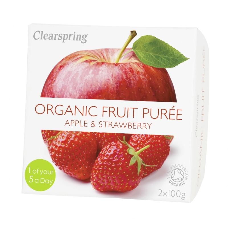 Clearspring Appel-Aardbeipuree Bio 2 x 100 g
