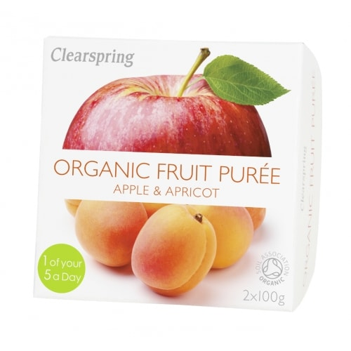 Clearspring Appel-Abrikozenpuree Bio 2 x 100 g