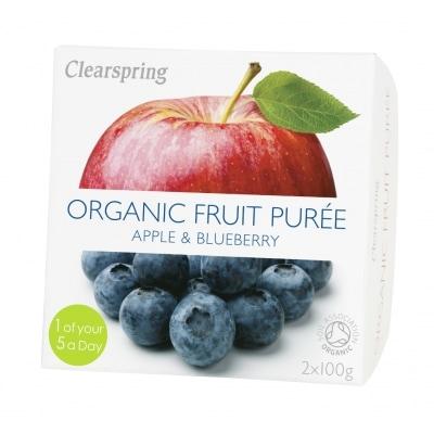 Clearspring Appel-Bosbessenpuree Bio 2 x 100 g
