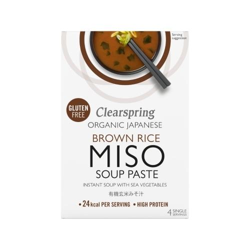 Clearspring Bruine Miso Soeppasta Instant Bio 4 x 15 g