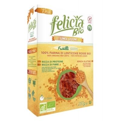 Felicia Rode Linzenpasta Fusilli Glutenvrij Bio 250 g